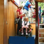 Disabled girl on lift
