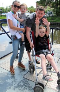 Family on-board our specially adapted canal boat